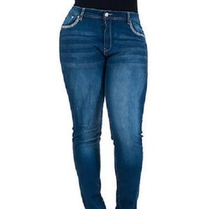 Denim - Womens plus size crunch denim stretch jean